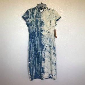 NWT Fashion Nova Blue Jean Acid Wash Stretch Dress
